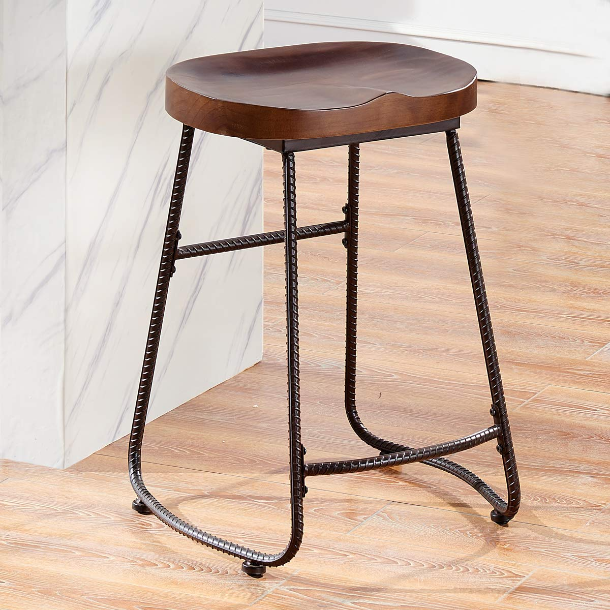 Ok furniture contoured saddle seat 24 inch backless bar stool chair for home kitchen island or counter wooden barstool with metal leg vintage walnut