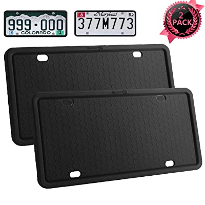 License Plate Frames-2PCS Silicone License Plate Covers Rust-Proof. Rattle-Proof. Weather-Proof.Shockproof for Automotive License Plate Frame - Black (Black-2 pack): Automotive