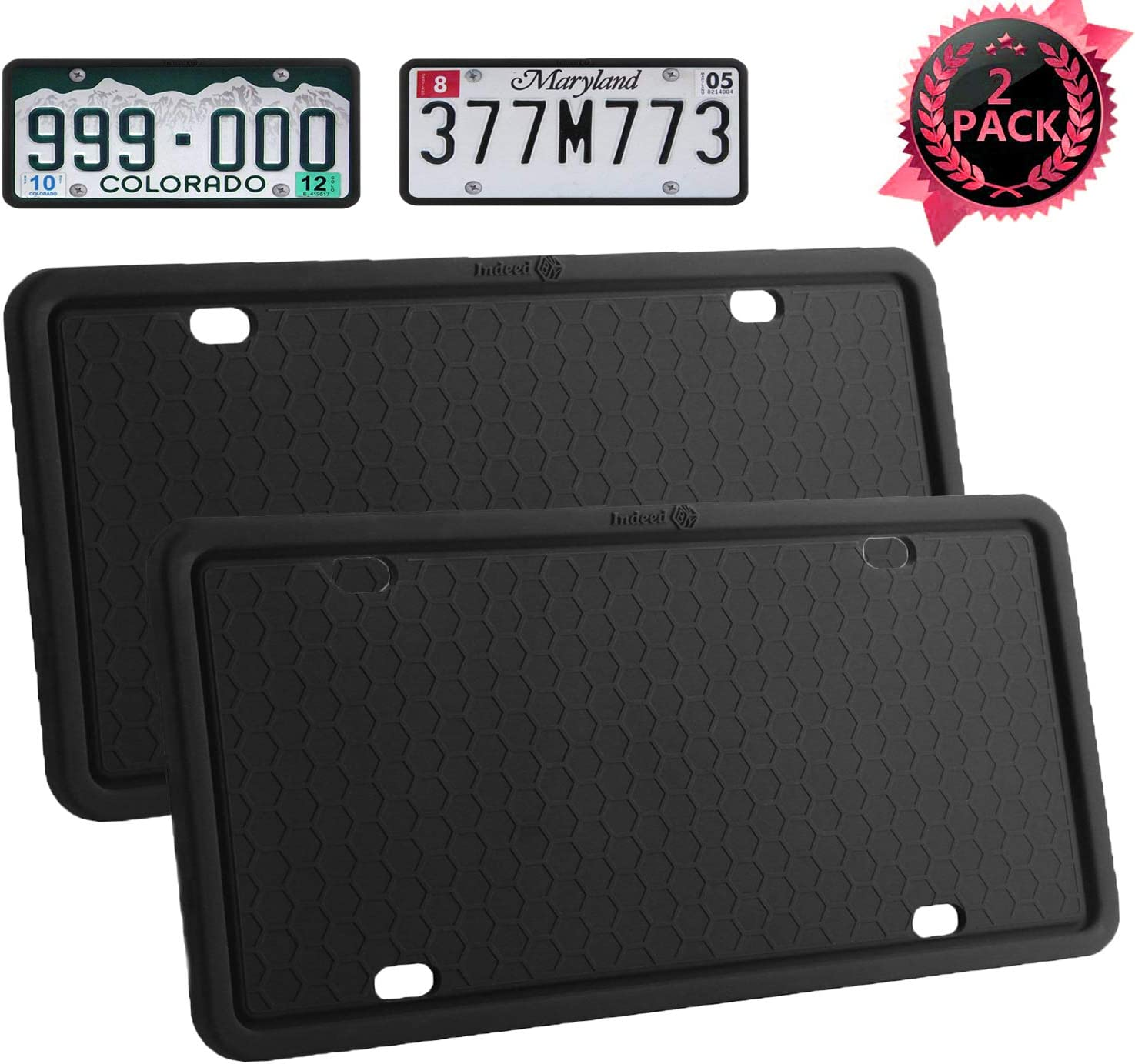Weather-Proof.Shockproof for Automotive License Plate Frame Black-1 pack License Plate Frames-Silicone Licenses Plate Covers Rust-Proof Rattle-Proof Black