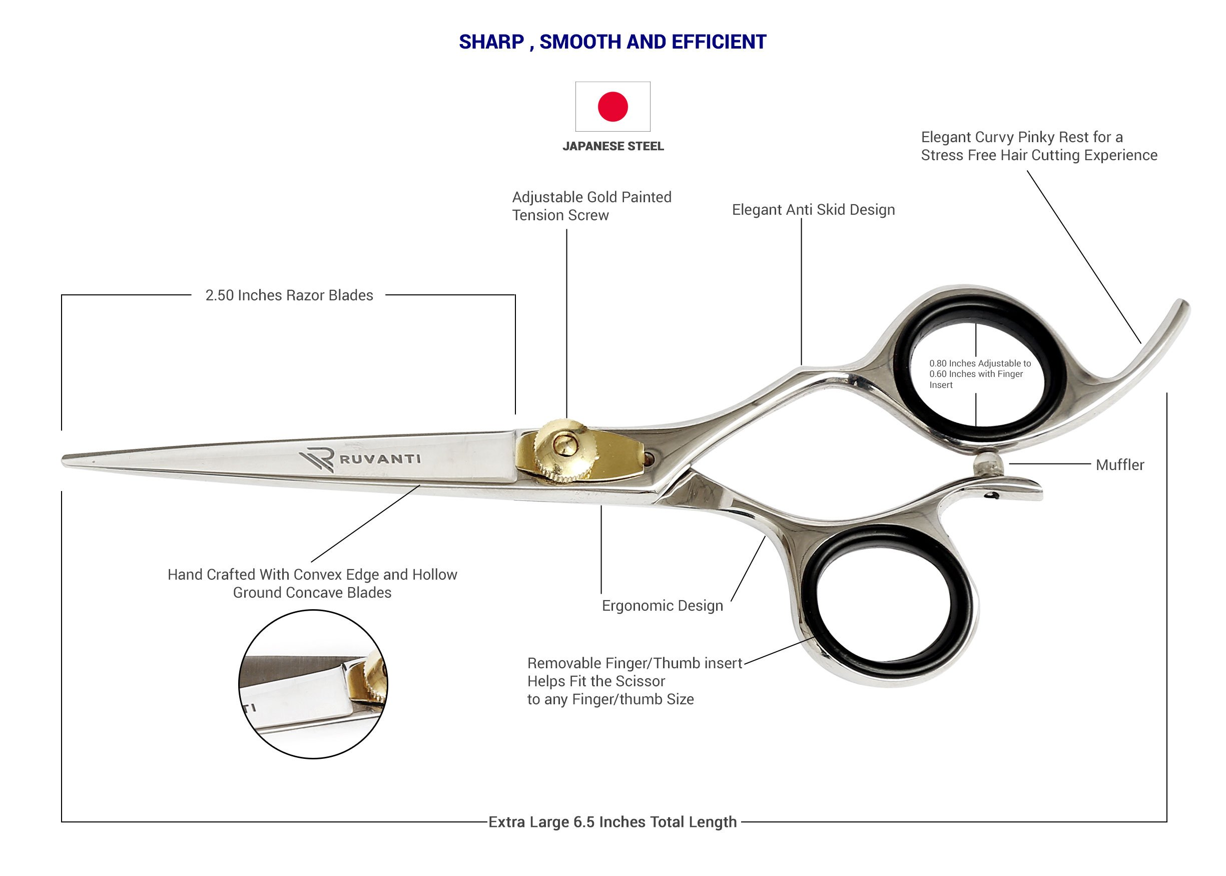 Ruvanti Professional Razor Blades Hair Scissors - Barber Hair Cutting Scissor - 6.5'' Japanese Super Cobalt Stainless Steel Hair Shear - Hairdresser Scissor/Barber Scissors with Gold Painted Screw by Ruvanti (Image #2)