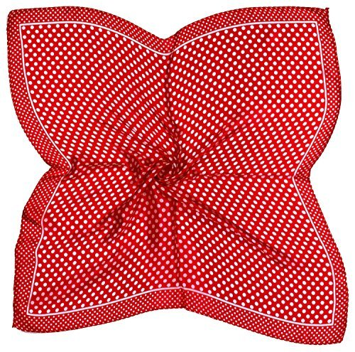 White Spot Silk Scarf (Red White Spot Printed Fine Small Silk Square Scarf)