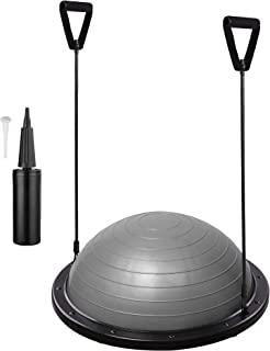AW Grey 22.8'/58cm Yoga Balance Ball w/ 2 Elastic Strings Fitness Strength Exercise Ball Balance Trainer