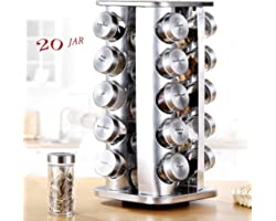 Revolving Spice Rack, 20 Jar Spice Rack, Stainless Steel Spice Rack Empty Glass with Labels for Countertop, Cabinet, Home