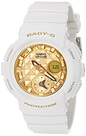 f8a9d0e39b520 Image Unavailable. Image not available for. Color  Casio Women s Baby G  BGA195M-7A White Rubber Quartz ...