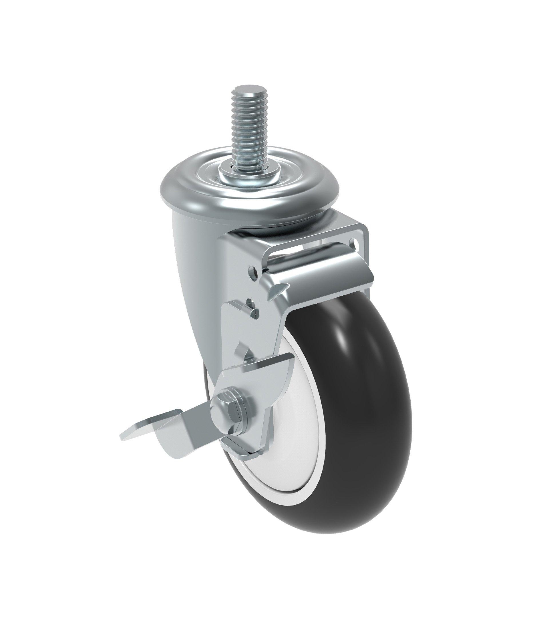 Schioppa GLEIF 412 NPE SL L12 Series 4'' x 1-1/4'' Diameter Swivel Caster with Wheel Lock Brake, Non-Marking Polypropylene Precision Ball Bearing Wheel, 1/2'' Diameter x 1-1/2'' Length Threaded Stem, 275 lb