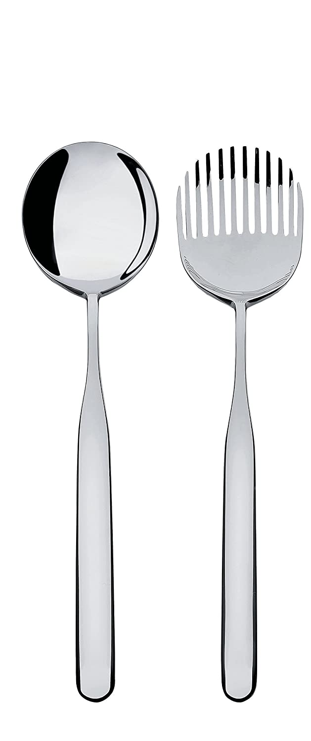 Alessi 18/10 Stainless Steel Mirror Polished Collo-alto Salad Set, Silver IS02/14