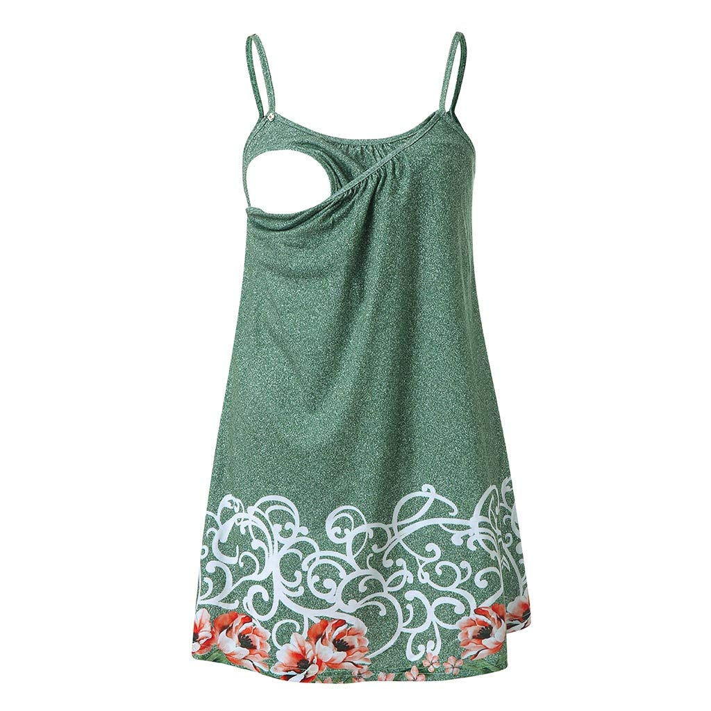 Dsood Breastfeeding Shirts Plus Size,Women Pregnant Floral Print Vest Nursing Baby for Maternity Sleeveless Blouse, Green