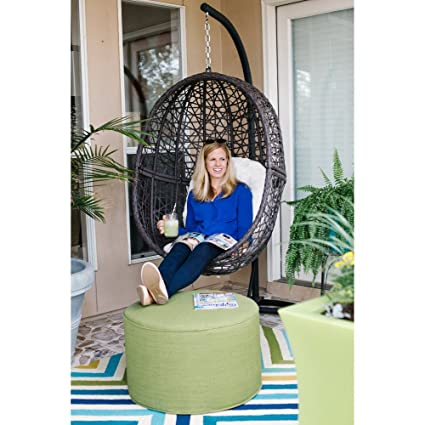 Brilliant Resin Wicker Hanging Egg Chair Outdoor Patio Furniture With Cushion And Stand Steel Frame Espresso Home Interior And Landscaping Ologienasavecom