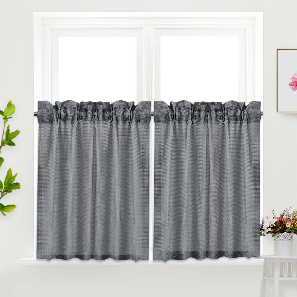 Idealhouse Grey Tier Curtains,Blackout Waffle Woven Textured Short Window Curtain for Cafe,Bathroom,Kitchen & kids bedroom Rod Pocket Curtains for Christmas gift(2 Panels, 30Inch Wide by 24Inch Long)