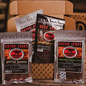 The Brobox Spicy Ultimate BBQ Bacon Jerky Goodness Box | Packed with All Junk Food and Snacks | Assortment Different Flavors | Awesome Gift Basket Set for Jerky Lovers