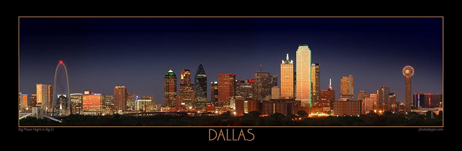 (Border) - Dallas Skyline NIGHT Colour FOUR STYLES 30cm x 90cm Photographic Panorama Poster Print Photo Picture Standard Frame Size ボーダー  B006MXYC6C