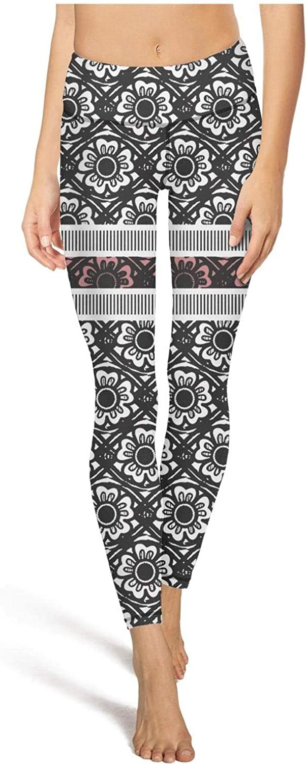 chchht Womens Elastic Yoga Pants Floral Pattern High Waisted Capris Athletic Legging
