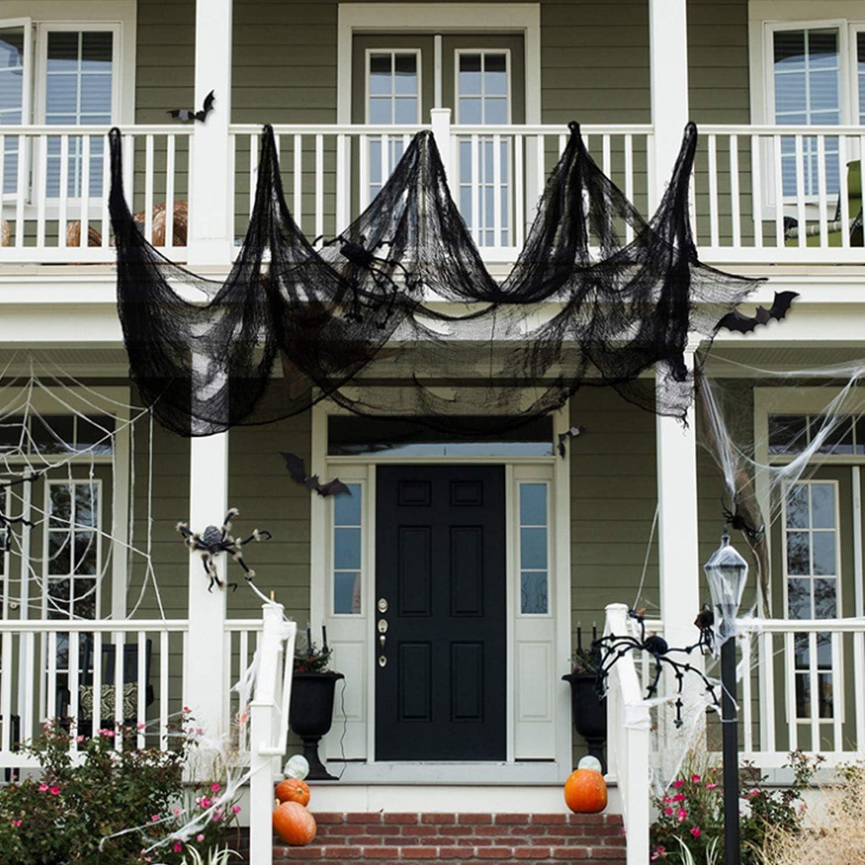 Fulushou Halloween Dekostoff Gruseliger Stoff Horror Deko Halloweenstoff Spukhaus Party Halloween Dekorationen f/ür Fenster Wand T/ür Decke 215 500cm