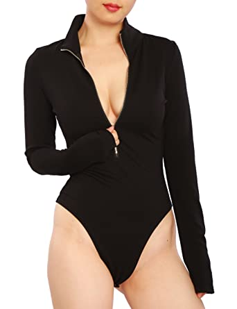 May Maya Women s Zip Front Turtleneck Bodysuit Jumpsuit Leotard at ... 31f0b3653