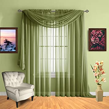 Infinite Home Beauty Sheer Window Curtains. Two Panels of Beautiful Drapes.  Great for Any Room in The House. Kitchen, Living, Bedroom or Office. ...