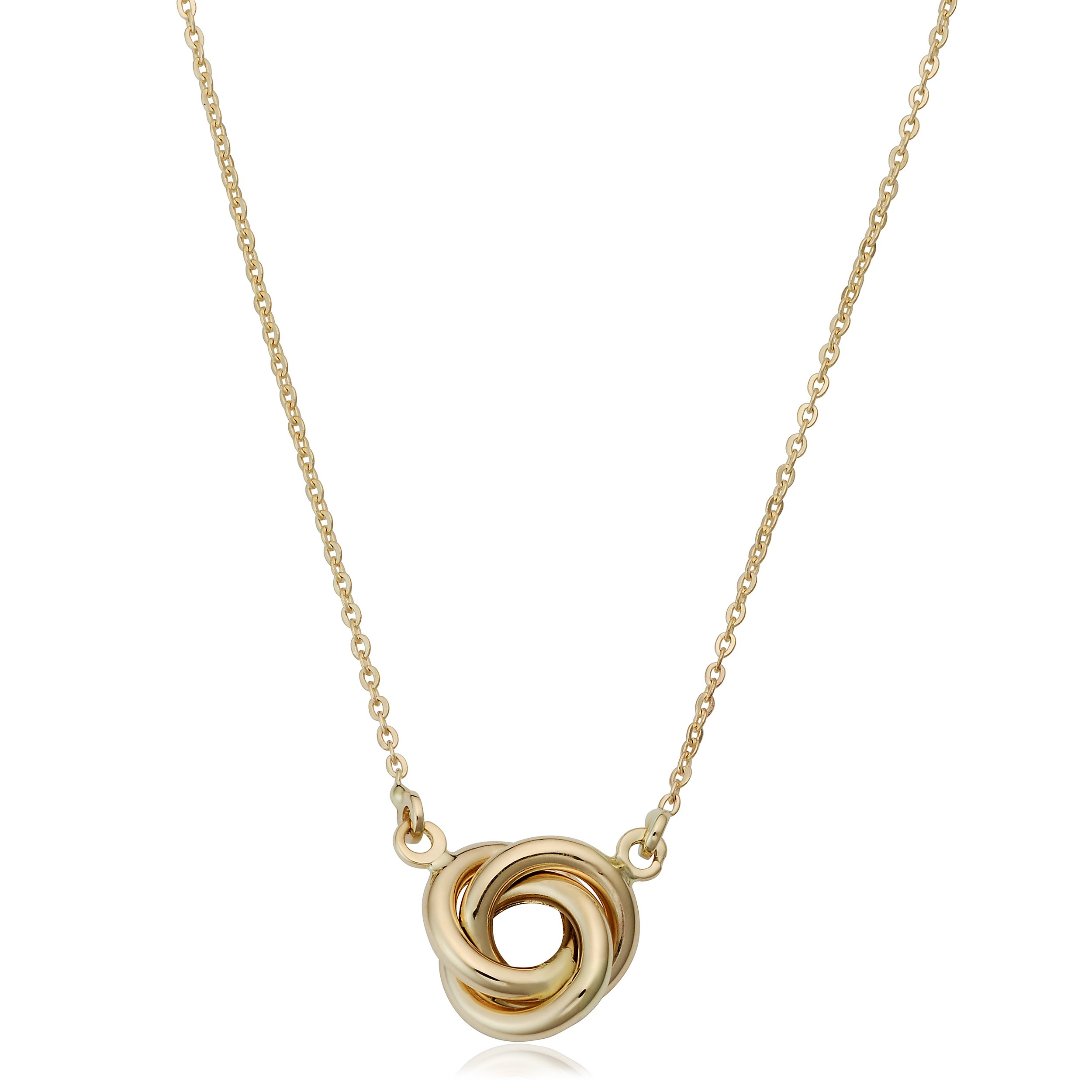 14k Yellow Gold 8mm High Polish Love Knot Necklace (18 inch)