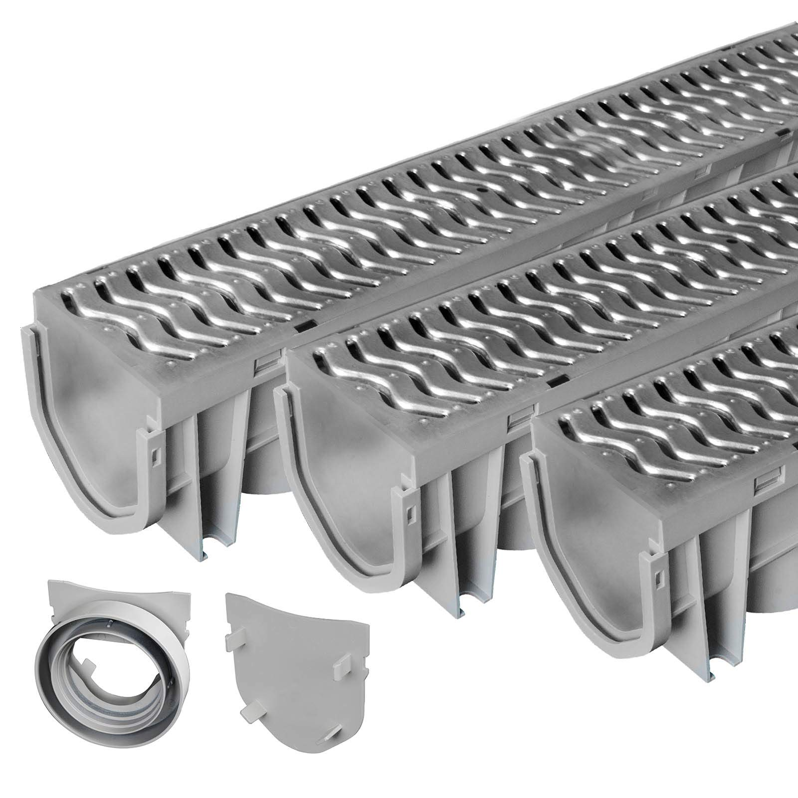 Source 1 Drainage Trench & Driveway Channel Drain with Galvanized Steel Grate - 3 Pack by Source 1 Drainage