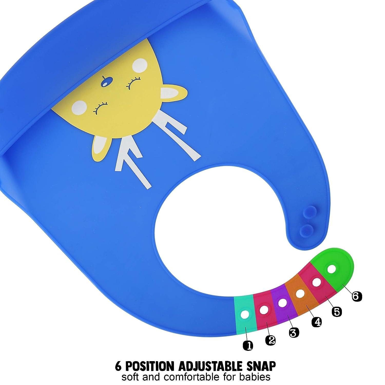 Leicht zu Reinigen Verstellbare Baby Bib Ideal zum Entw/öhnen Sp/ülmaschinenfest BPA Frei Tief Auffangschale Weiches Bramble 5er Pack Wasserdichte Silikon Baby L/ätzchen in 5 Farben