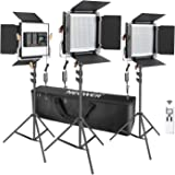 Neewer 3 Packs Advanced 2.4G 480 LED Video Light Photography Lighting Kit, Dimmable Bi-Color LED Panel with LCD Screen, 2.4G