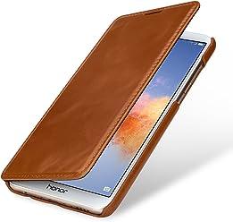 StilGut Book Type Case, custodia per Huawei Honor 7X a libro booklet in vera pelle, Cognac