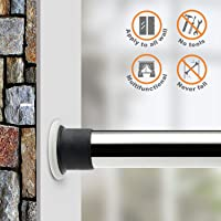 ALLZONE Room Divider Tension Curtain Rod 84-124inchNo Drilling Never Collapse Very Secure Brushed Stainless Steel