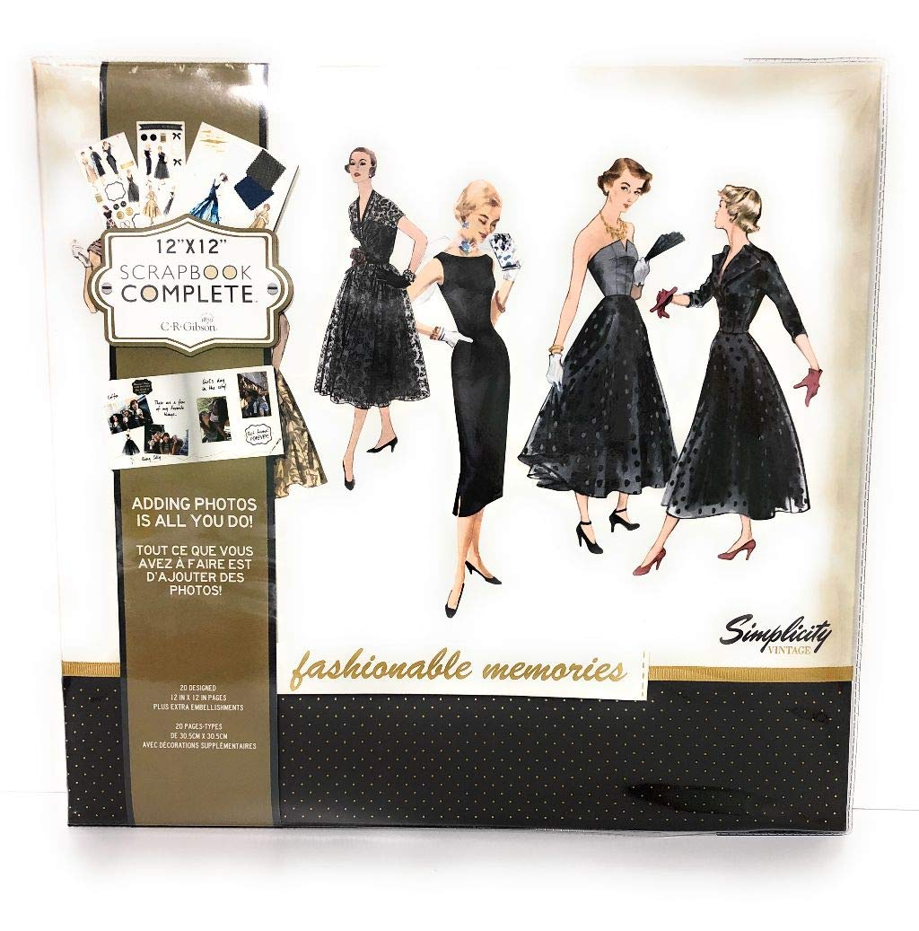 Fashionable Memories Simplicity Vintage Black Dress 12'' x 12'' Scrapbook Complete by C.R. Gibson