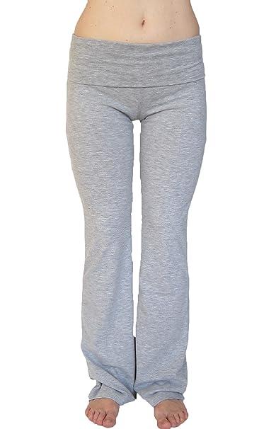 732b7099f67 Amazon.com  Popular Basics Women s Cotton Yoga Pants With Fold Down Waist  Light Gray Small  Clothing
