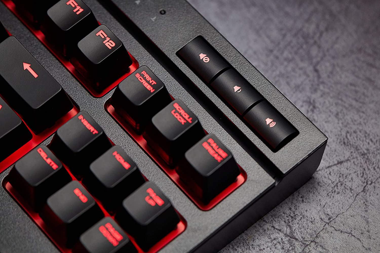 Corsair K63 Tastatur USB Spanisch Schwarz Rot Mini, Verkabelt, USB, Mechanischer Switch, LED, Schwarz, Rot Tastaturen