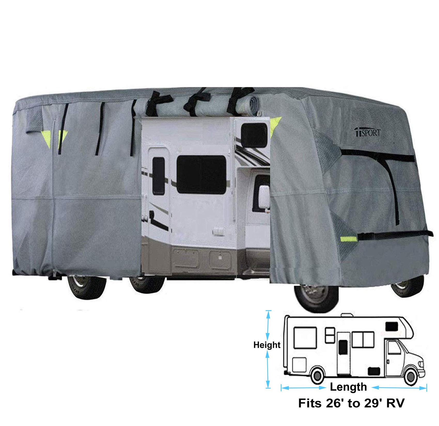 iiSPORT Upgrade 4-Ply Top Panel Class C Motorhome RV Cover Fits 26'- 29' Long Ripstop Waterproof RV Covers with Storage Bag, Reflective Panel, Air Vents & Repair Adhesive Patch