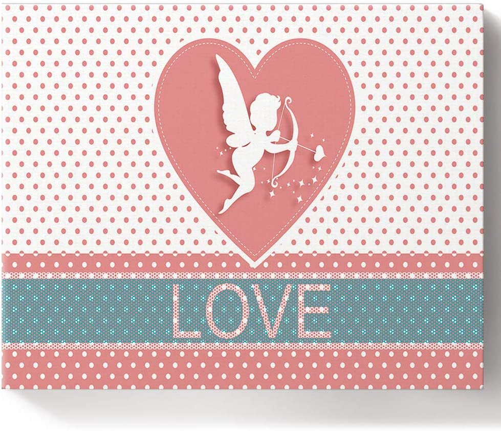 Amazon Com Valentine S Day Painting By Number Kit On Canvas For Beginners Easy Acrylic With Paints And Brushes Unique Gift Lovely Angel Cupid Arrows Polka Dots 16x20 Inch