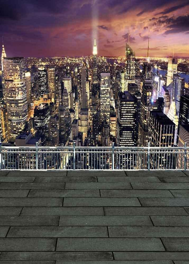 GladsBuy City Night 5 x 7 Digital Printed Photography Backdrop Fence and Pillars Theme Background YHA-283