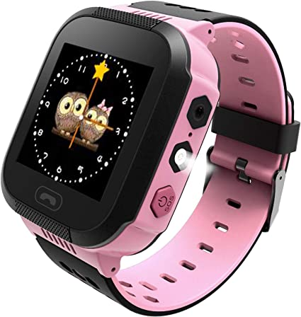 Enow Kids Smart Watch, LBS Tracker for Boys Girls with SOS Call Camera Flashlight Alarm Activity 1.44 Touch Screen SIM Card Slot Electronic ...