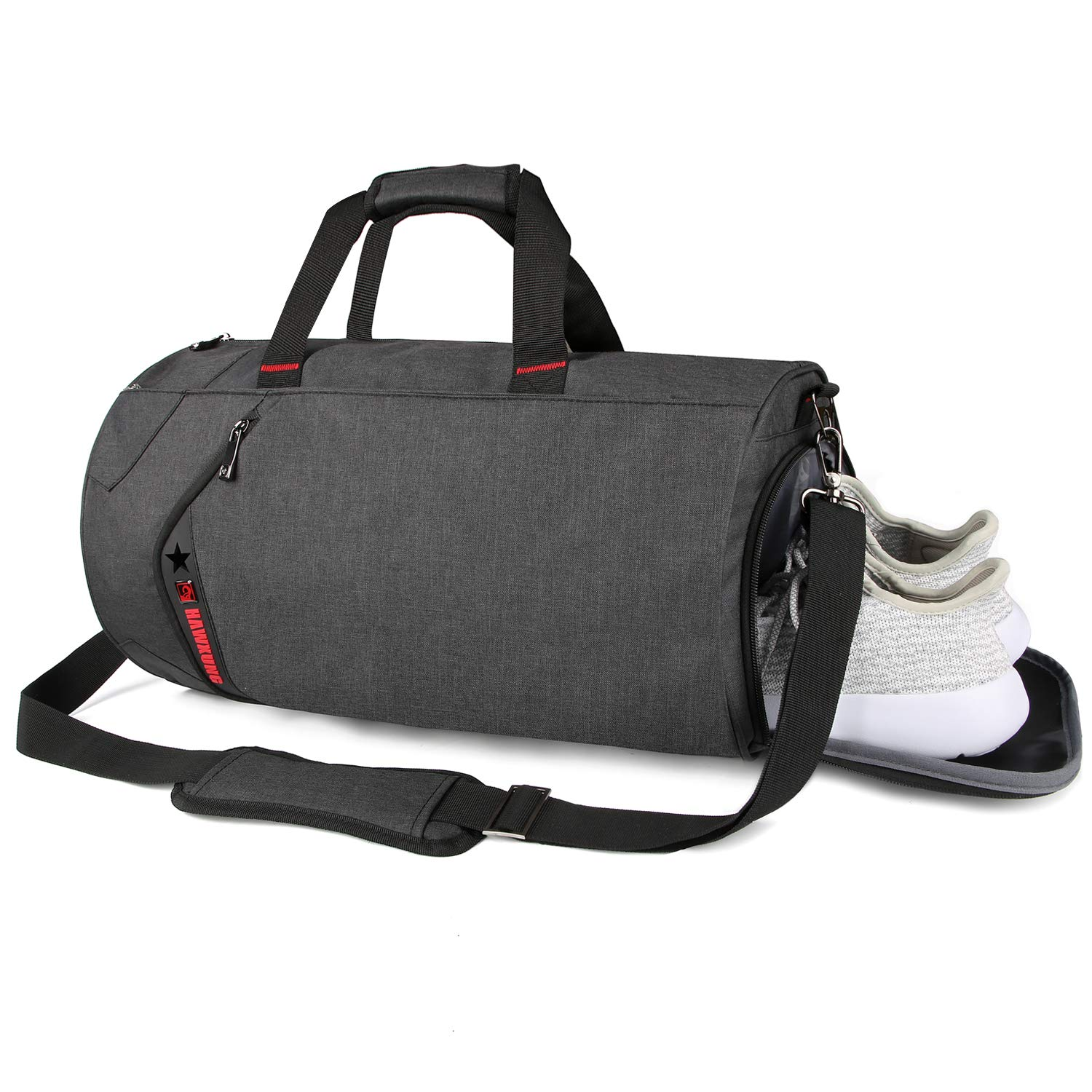 SCIONE Sports Gym Bag for Men Waterproof Travel Duffel Bag for Women with Wet Pocket Shoes Compartment Black