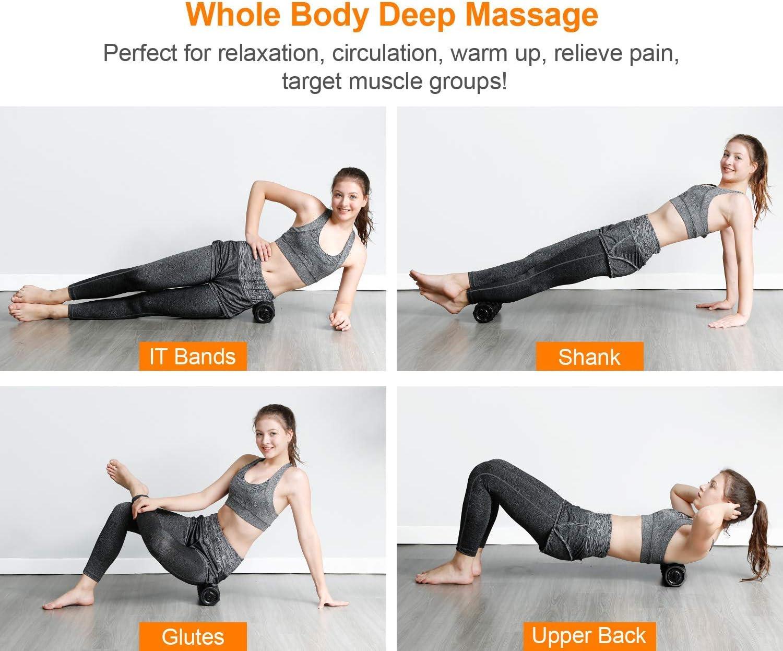 EVIEUN Faszienrolle,Hochintensiver Fitness-Massageroller,Tragetasche und Workout I Faszienrolle mit Tiefenvibration I Massagerolle I Vibrationsrolle mit 4 Vibrationsstufen