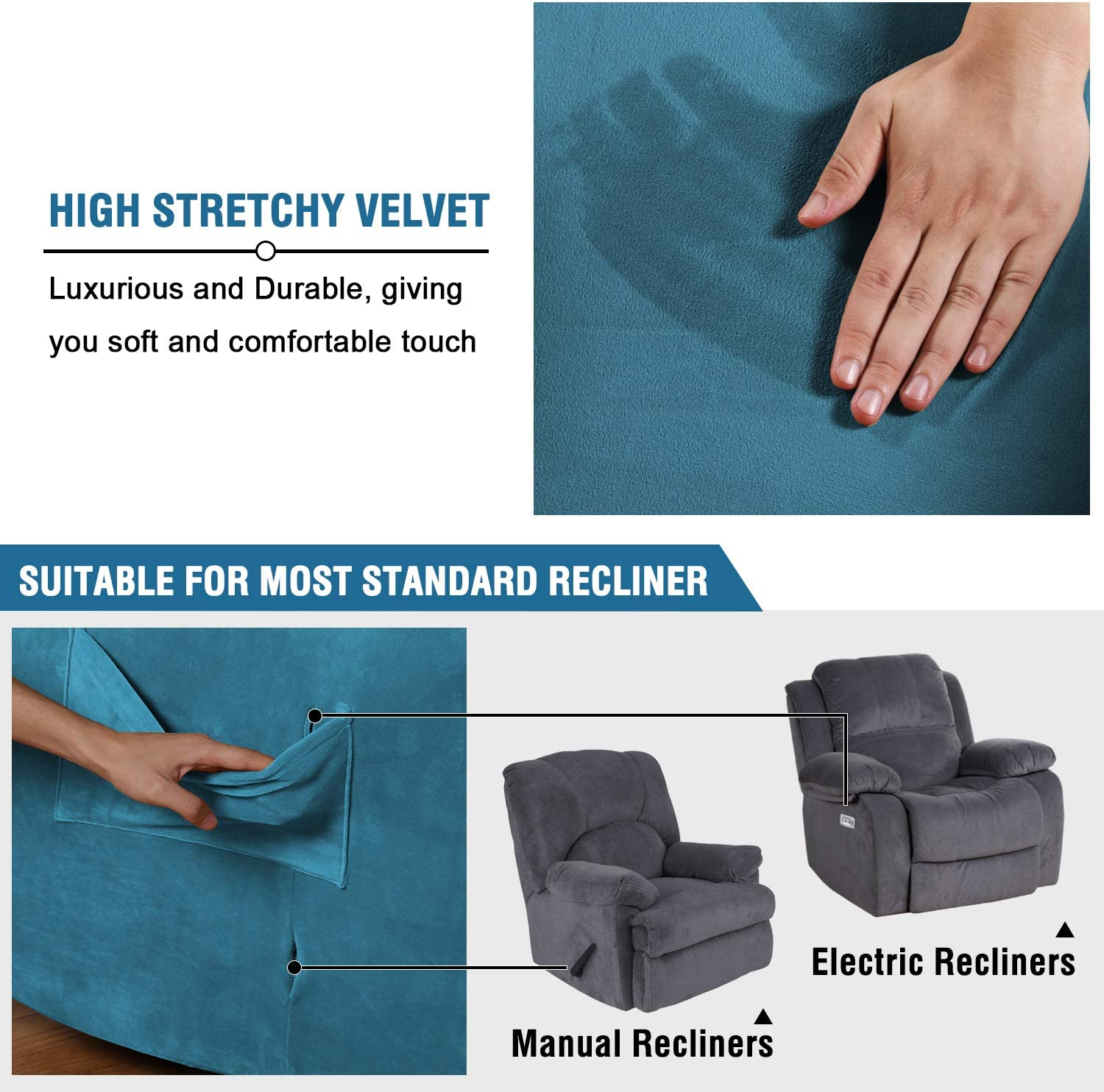 Recliner, Camel H.VERSAILTEX Stretch Recliner Slipcovers 1-Piece Modern Rich Velvet Plush Sofa Furniture Cover Form Fit Stretch Stylish Recliner Cover//Protector Feature Rich and Soft Fabric