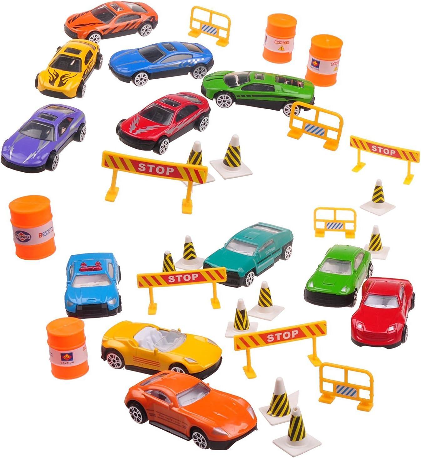 Semme Jouet r/ésistant de Camion de Transporteur de Voiture de Transport avec 12 Jouets de mod/èle de Voiture en m/étal dalliage de Zinc pour des Enfants