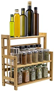 Sorbus Kitchen Countertop Organizer Bamboo Wooden Counter Storage Shelf Rack for Spice, Soap, Skin care, Makeup Display Stand, Bathroom Shelves, Vanity, Office (3-Tier)