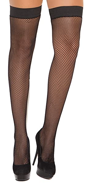 f097d40f6f84c4 Image Unavailable. Image not available for. Color: Hot Spot Plus Size  Women's Stay Up Silicone Top Fishnet Thigh High Stockings Black
