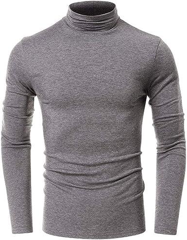 Camiseta básica de cuello alto para hombre, cuello redondo, liso, para otoño e invierno, de manga larga, informal, blusa