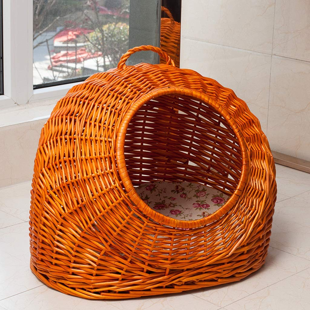 B YXLZZO Rattan Portable Cat Pet Nest Small Dog Summer Semiclosed Pet House Pet nest (color   B)