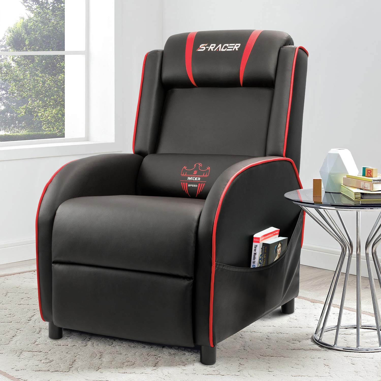 Homall Gaming Recliner Chair Single Living Room Sofa Recliner PU Leather Recliner Seat Home Theater Seating Red