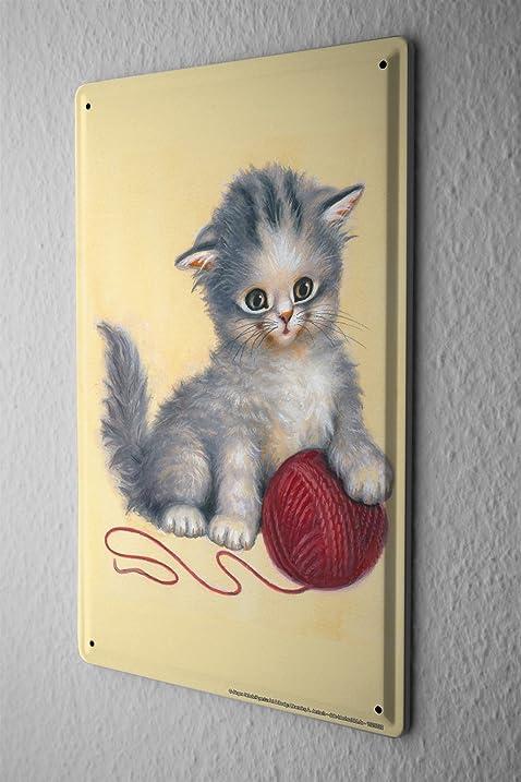 Amazon.com: Tin Sign Jürgen Scholz kittens paw red ball of wool yarn ...