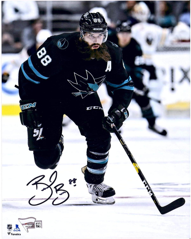 Brent Burns San Jose Sharks Autographed 8' x 10' Black Jersey Skating Photograph - Fanatics Authentic Certified