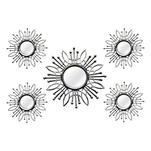 Stratton Home Decor SHD0257 5 Piece Burst Wall Mirror, Silver, 15.50 W X 0.79 D X 15.50 H,