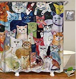 Colorful Cartoon Cat Fabric Shower Curtain Bathroom /& 71*71inch With Hooks