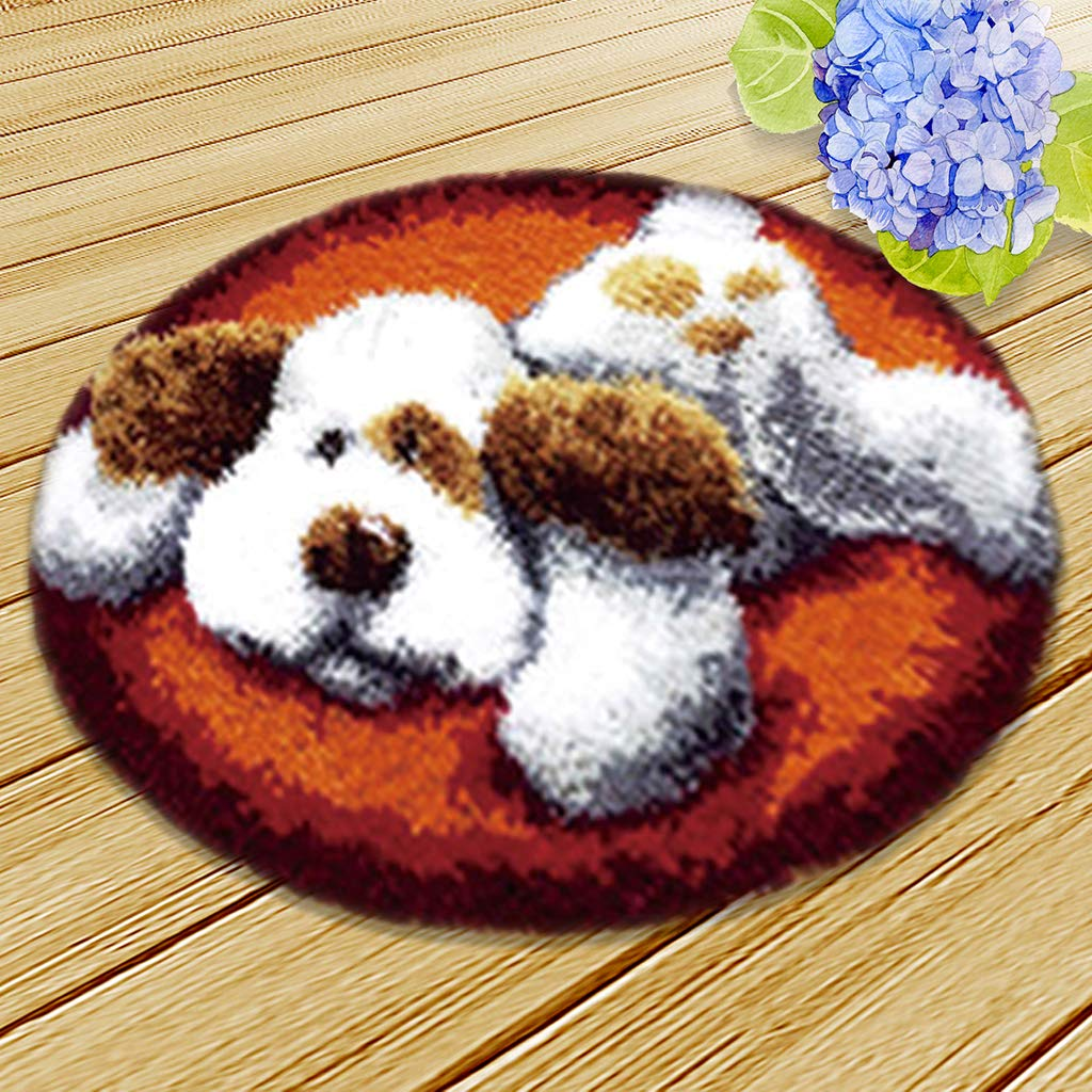 2 Sets LadyBug Bear Latch Hook Rug Kits for Girls Carpet Latch Hooking Kit