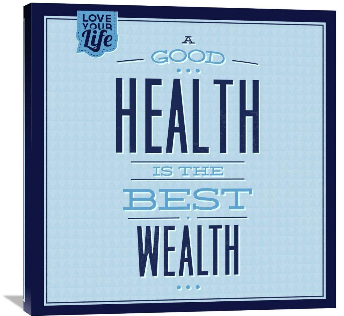 Naxart Studio ''Health Is The Best Wealth 1'' Giclee on Canvas, 36'' x 1.5'' x 36''