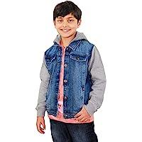 Kids Boys Denim Jacket Fleece Sleeves & Hood Fashion Jackets Coat Age 2-13 Years