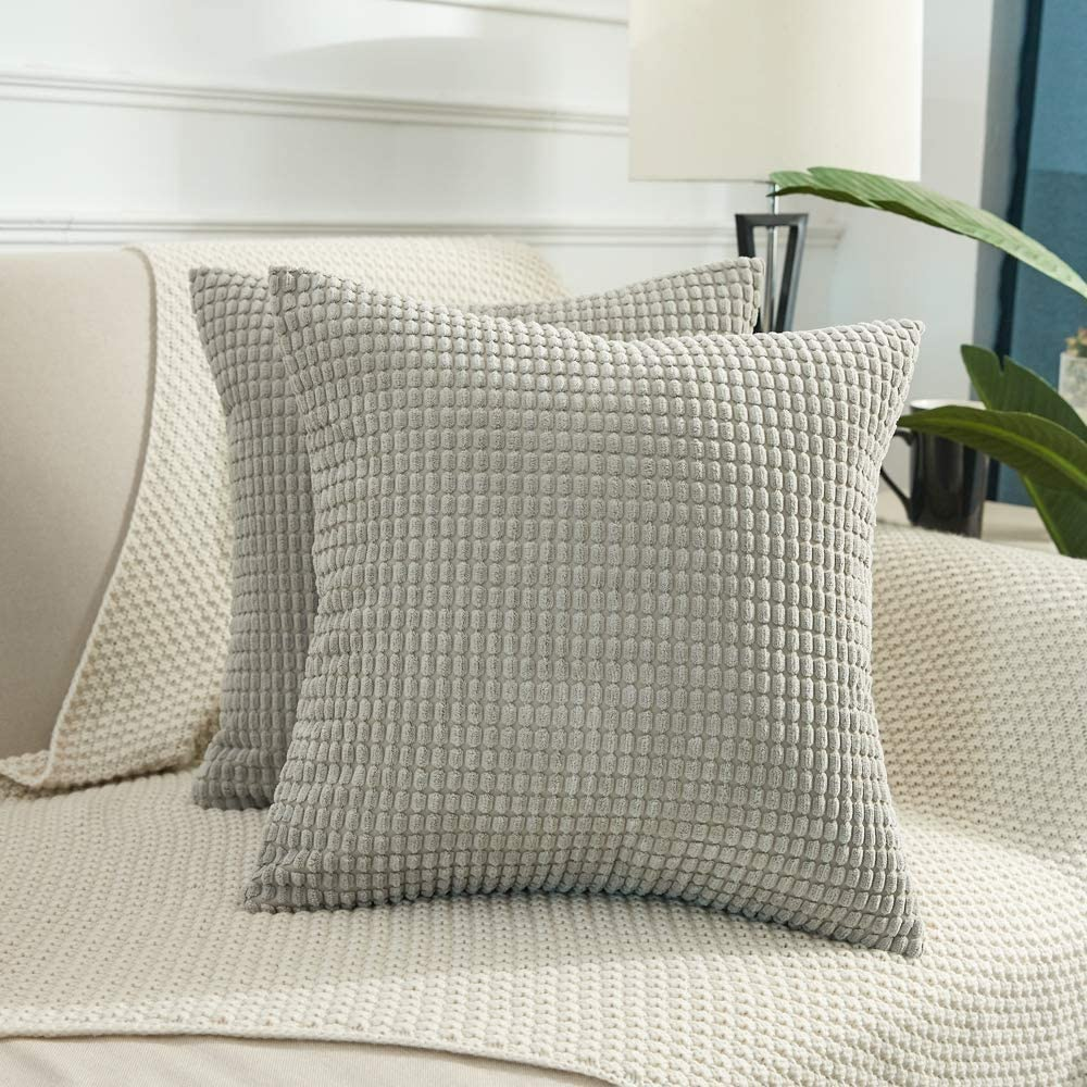 BEBEN Throw Pillow Covers - Set of 2 Pillow Covers 18x18, Decorative Euro Pillow Covers Corn Striped, Soft Corduroy Cushion Case, Home Decor for Couch, Bed, Sofa, Bedroom, Car (Light Grey, 18X18)
