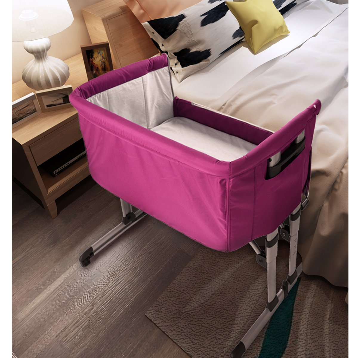 PANANASTORE Adjustable Baby Bed Side Sleeping/Crib Fixed /& Swing Function/with Mosquito/Net /&/Carry/Bag Pink